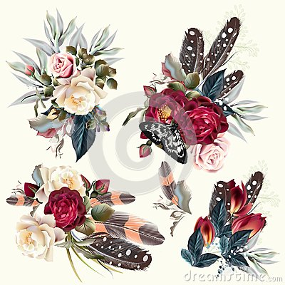 Free Boho Fashion Collection Of Vector Flowers Royalty Free Stock Photo - 113404045