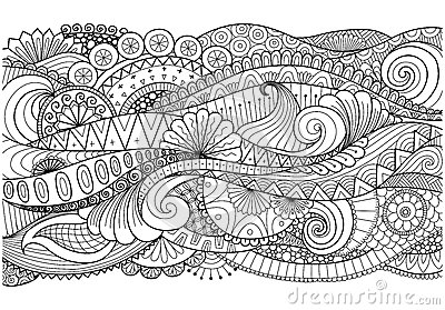 Boho pattern for background, decorations,banner,coloring book,cards and so on Vector Illustration