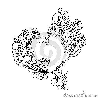 Free Boho Style Black Line Art Original Heart Frame With Space. Digital Sketch Illustration, Valentines Day Element, Stylized Stock Images - 82007594