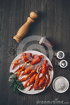 Free Boiled Big Red Fresh Crayfish In White Plate With Green Herbs. Royalty Free Stock Photography - 96747987