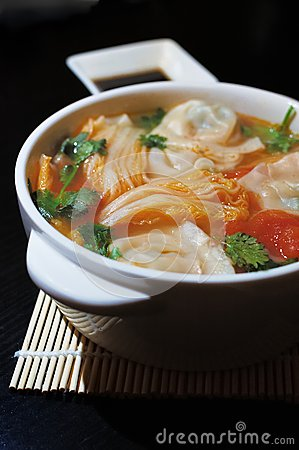 Free Boiled Chinese Dumplings In Sour Tomato Soup Royalty Free Stock Photo - 36129805