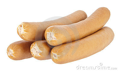 Boiled hot dog sausages on white background