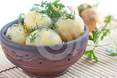 Boiled potatoes  with green dill