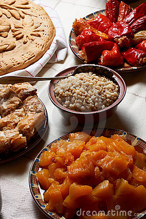 Boiled pumpkin and other food
