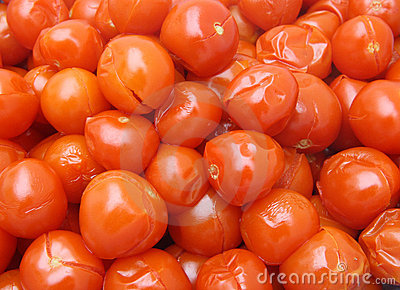 Boiled red tomatoes