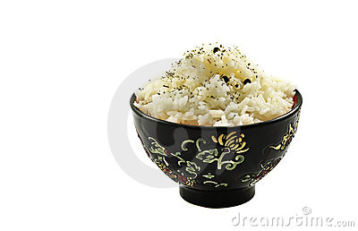 Boiled rice in ceramic ware