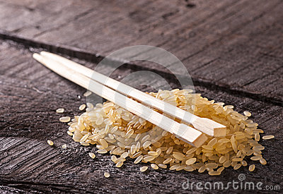 Boiled rice with sticks