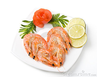 The boiled tiger shrimps