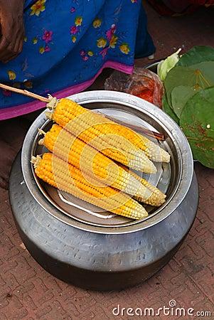 Boiled yellow corn