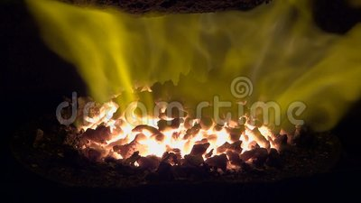 Boiler house. The flame on the burner of furnace stock video footage