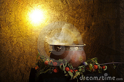 Boiling copper halloween cauldron