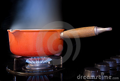 Boiling pot of water
