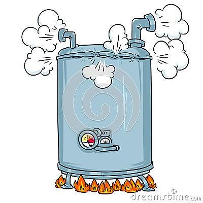 Free Boiling Steam Boiler Cartoon Illustration Stock Photography - 124902972