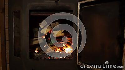Bois de chauffage et enflammer le feu clips vidéos