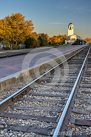 Boise train depot and tracks in the fall