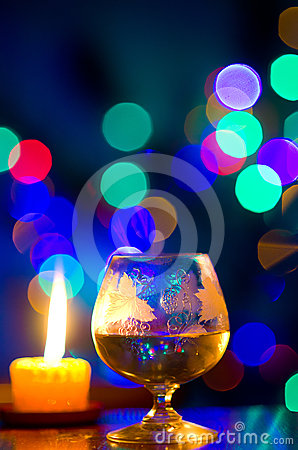 Bokeh with glass of wine