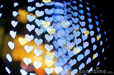 Bokeh series - blue hearts