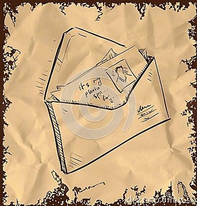 Bokstav och foto i kuvert
