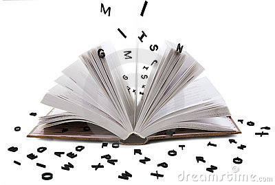 Bokstäver för svart bok öppnar whith