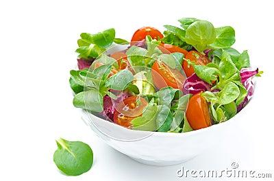 bol de salade fra che et de tomates cerises d 39 isolement image stock image 31431621. Black Bedroom Furniture Sets. Home Design Ideas
