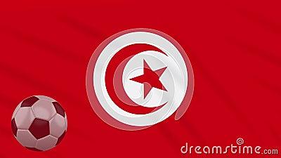 A bola da ondula??o e de futebol da bandeira de Tun?sia gerencie, la?o ilustração do vetor