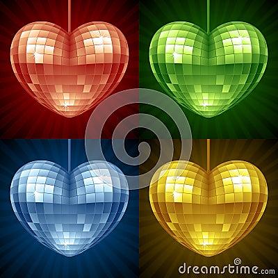 Bola de discoteca del vector en la forma del corazón