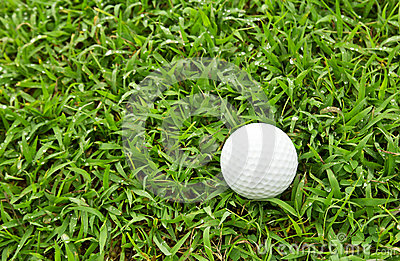 Bola de golfe na grama verde