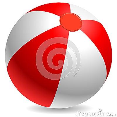 Bola de playa roja y blanca