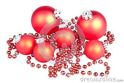 Bolas rojas de las bolas de la navidad peque as imagen de - Bolas de navidad rojas ...