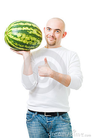 Bold man with watermelon