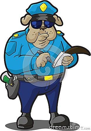 Boleto de la escritura de la policía del perro
