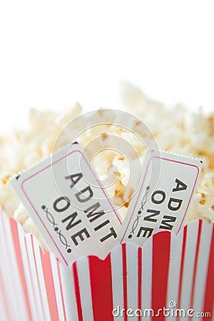 Boletos de las palomitas y de la película