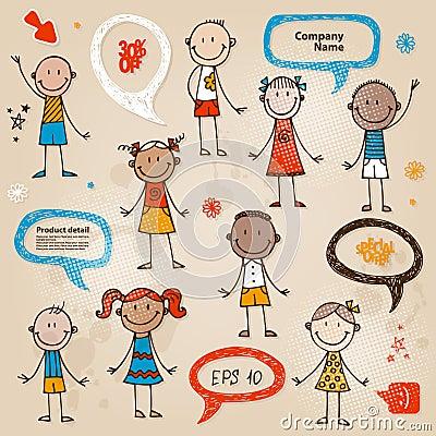 Bolhas desenhados à mão do discurso das crianças ajustadas