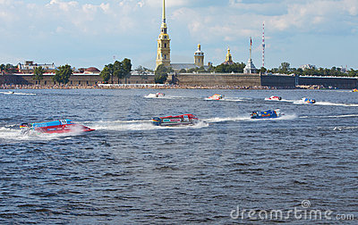 Bolide on water on line on Neva at Formula 1 Power Editorial Stock Image
