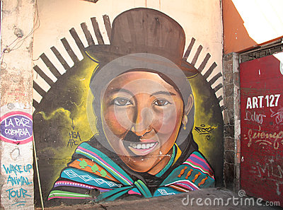 Bolivian street art Editorial Stock Image