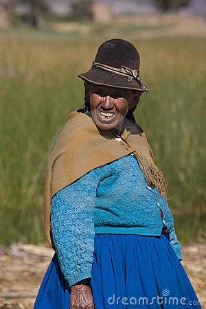 Bolivian woman - Lake Titicaca in Bolivia Editorial Stock Image