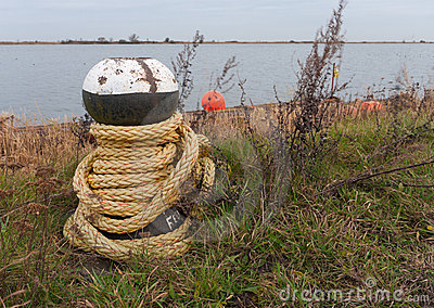 Bollard with rope