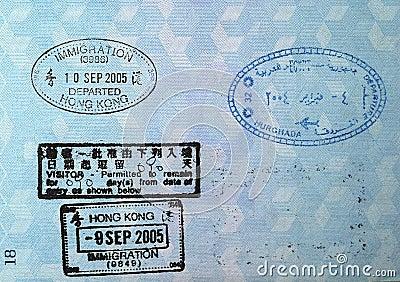 Bolli di visto del passaporto
