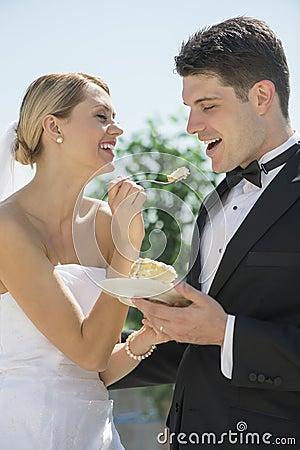 Bolo de casamento de alimentação da noiva ao noivo