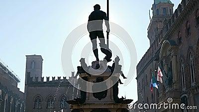 Bologna local landmark of Emilia Romagna region Italy - the Fountain of Neptune statue or Fontana del Nettuno in stock video