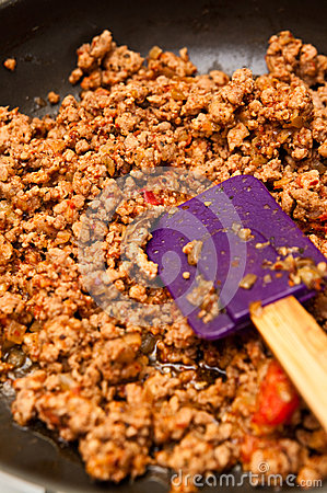 Bolognese meat on frying pan