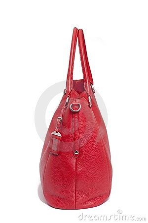 Bolso de cuero rojo de la mujer