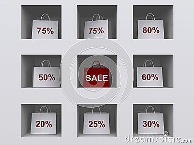 Bolsos de compras en estante