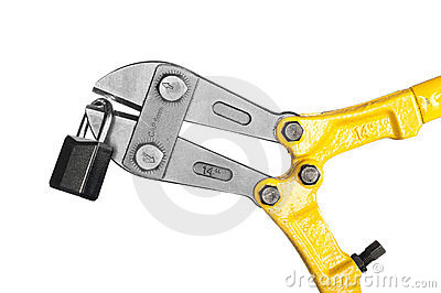 Bolt cutters on white