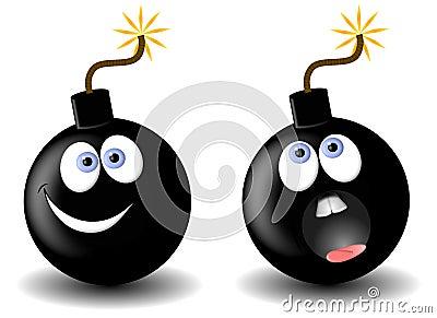 Bomb Cartoons Facial Expressions