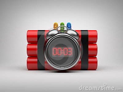 Bomb with clock timer 3D. Countdown