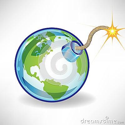 Bomb earth globe concept