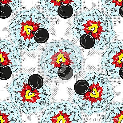 Free Bomb Explosion Pop Art Comic Seamless Pattern Stock Photography - 102112502