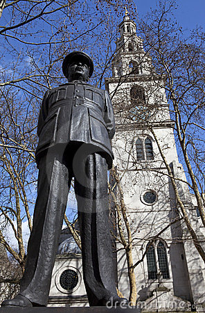 Bomber Harris Statue and St Clement Danes Church Editorial Image