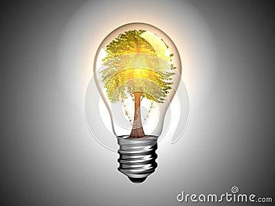 Bombilla con el árbol adentro él y luz